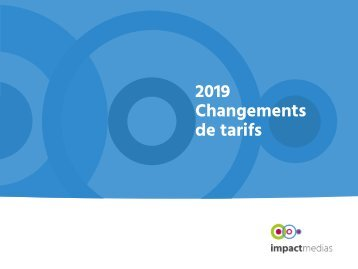 Changements tarifs 2019