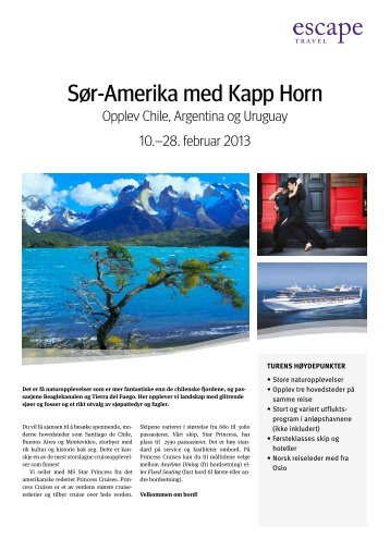 Sør-Amerika med Kapp Horn - Escape Travel