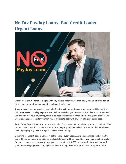 No Fax Payday Loans Bad Credit Loans Urgent Loans Converted