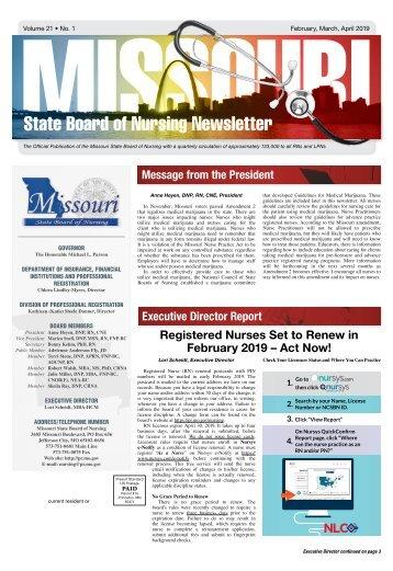 Missouri State Board of Nursing Newsletter - February 2019