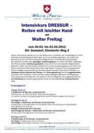 Intensivkurs DRESSUR – Reiten mit leichter Hand Walter Freitag