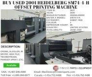 Buy Used 2001 Heidelberg SM74-4-H Offset Printing Machine