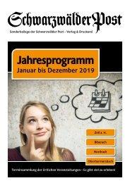 Jahresprogramm 2019 – Ein Heft des Verlags Schwarzwälder Post – Stand 17-01-2019