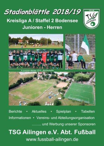Stadionblättle TSG Ailingen e.V. 2018/2019
