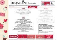 Carte brasserie - Spéciale St-Valentin