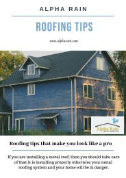 Metal Roofing Tips That You Should Know - Alpharain.com