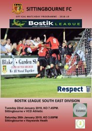 Match Day Programmes Sittingbourne v VCD 22/6/19 & Haywards Heath 26/1/2019