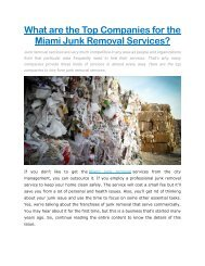 What are the Top Companies for the Miami Junk Removal Services?
