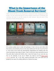 What is the Importance of the Miami Trash Removal Services?