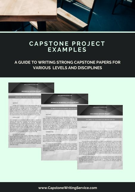 A GUIDE TO WRITING STRONG CAPSTONE PAPERS FOR VARIOUS LEVELS AND DISCIPLINES