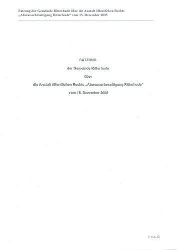 Satzung der Gemeinde Ritterhude über die Anstalt ... - hanseWasser