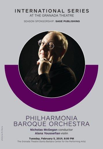Philharmonia Baroque Orchestra—February 5, 2019—CAMA's International Series at The Granada Theatre—Centennial Season