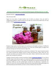 Aromaaz International is a Trusted Certified Organic Oil Manufacturer in India