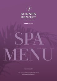 Sonnen Resort SPA MENÜ