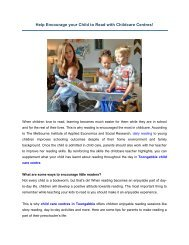 Help Encourage your Child to Read with Childcare Centres!