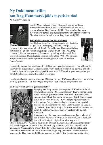 Ny Dokumentarfilm om Dag Hammarskjöld mystiske død