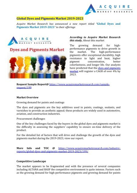 Dyes and Pigments Market to Witness a Pronounce Growth