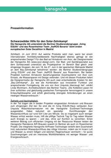 finden Sie die komplette Presseinformation. (PDF, 0 - Hansgrohe