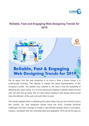 Reliable, Fast and Engaging Web Designing Trends for 2019 (1)