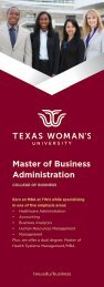 TWU College of Business Info-card