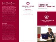 TWU Doctor of Physical Therapy