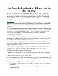 How Does the Legalization of Hemp Help the CBD Industry?