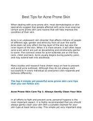 Best Tips for Acne Prone Skin