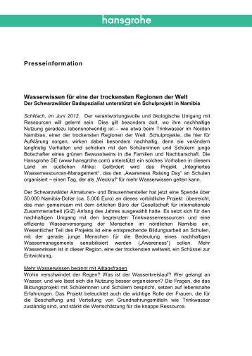 finden Sie die komplette Pressemitteilung (PDF, 0 - Hansgrohe