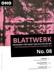 BLATTWERK AUSGABE No.8 – September bis November 2018