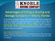 Advantages of hiring a moving and storage company in Miami, Florida