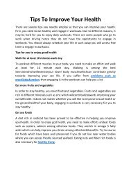 Tips To Improve Your Health