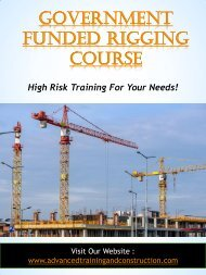 Government Funded Rigging Course