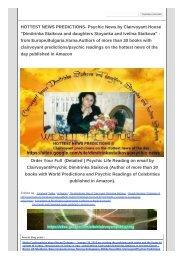 HOTTEST NEWS PREDICTIONS- Psychic News by Clairvoyant Dimitrinka Staikova
