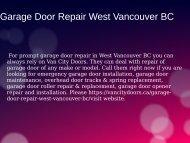 Professional Garage Door Repair in West Vancouver BC