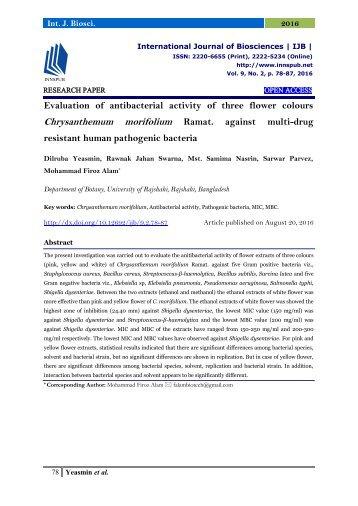 Evaluation of antibacterial activity of three flower colours Chrysanthemum morifolium Ramat. against multi-drug resistant human pathogenic bacteria