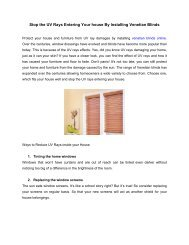 Stop the UV Rays Entering Your house By Installing Venetian Blinds
