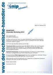 Anmeldung ROHRTEST Anwender-Workshop 2012 - bei Knip Berlin