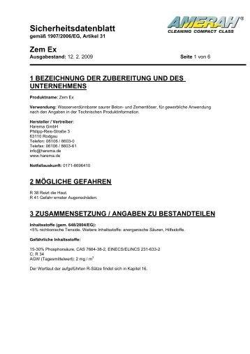 Sicherheitsdatenblatt - Harema GmbH