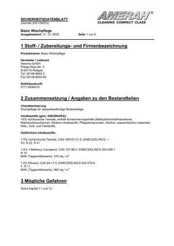 1 Stoff- / Zubereitungs- und Firmenbezeichnung 2 ... - Harema GmbH