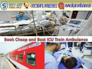 Get Best and Safe Train Ambulance from Kolkata to Delhi with All Medical Facilities