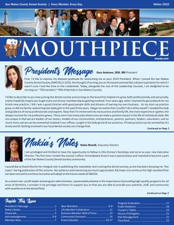 2019 Winter SMCDS Mouthpiece Newsletter