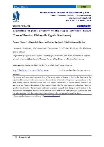 Evaluation of plant diversity of the steppe interface, Sahara (Case of Brezina, El-Bayadh Algeria Southwest)