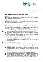 Betriebsanleitung für Schlauchleitungen - bei Knip Berlin
