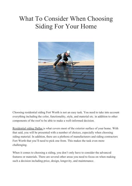 What To Consider When Choosing Siding For Your Home