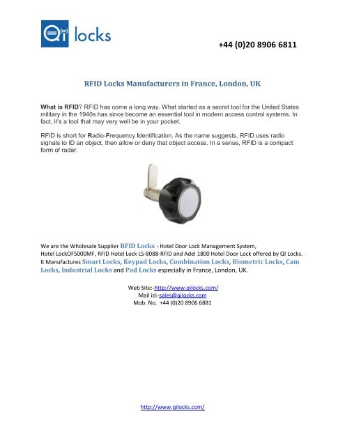 Look at RFID Locks Manufacturers in France, London, UK