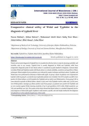 Comparative clinical utility of Widal and Typhidot in the diagnosis of typhoid fever
