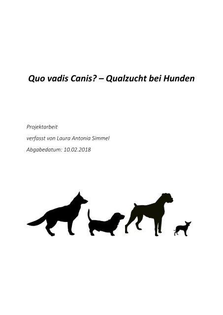 Quo Vadis Canis Qualzucht Bei Hunden Pdf