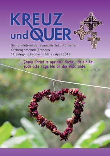 Gemeindebrief evangelische Gemeinde Kronach Februar - April 2019