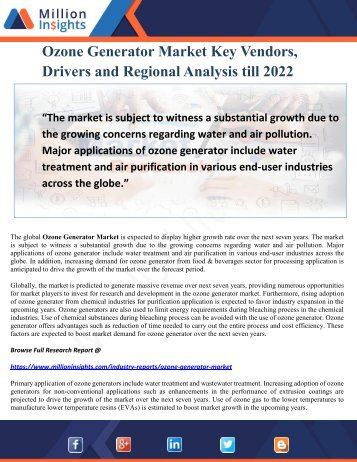 Ozone Generator Market Key Vendors, Drivers and Regional Analysis till 2022