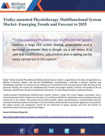 Trolley-mounted Physiotherapy Multifunctional System Market- Emerging Trends and Forecast to 2025